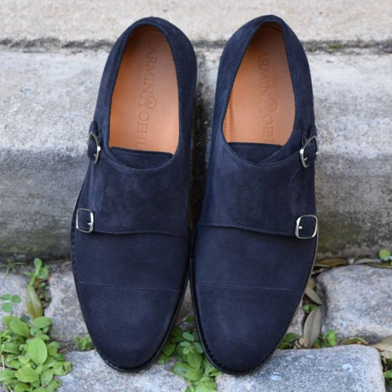 Charleston Double Monk Strap Shoe in Blue Slate Suede by Armin Oehler