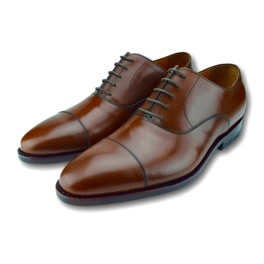 Macon Plain Cap Toe Oxford Shoe in Cognac Brown by Armin Oehler