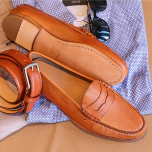 Ventura Penny Loafer in Tan Leather by T.B. Phelps