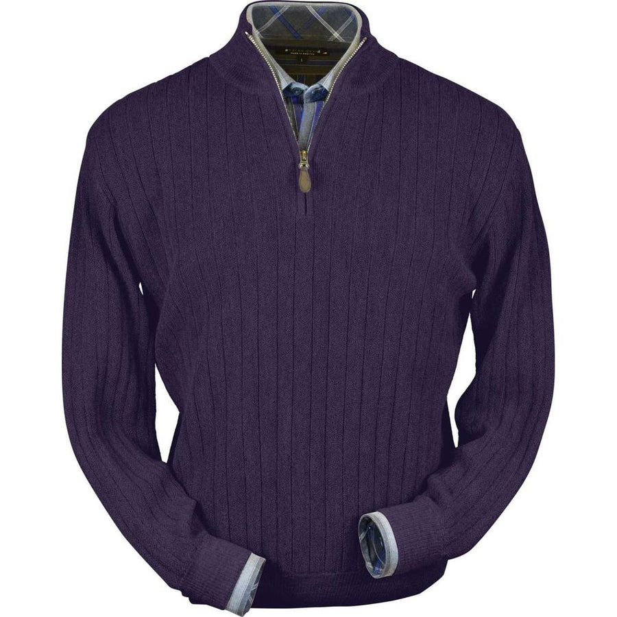 Baby Alpaca 'Links Stitch' Half-Zip Mock Neck Sweater in Plum Heather by Peru Unlimited