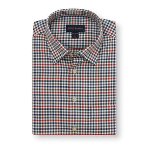 Jackson Mélange Twill Check Long Sleeve Shirt with Hidden Button Down Collar in Navy, Brown & Red by Scott Barber