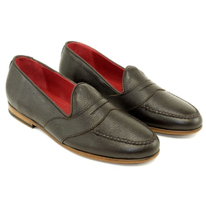 Barney Deerskin Penny Loafer in Dark Chocolate by Alan Payne Footwear