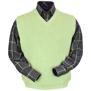 Baby Alpaca 'Links Stitch' V-Neck Sweater Vest in Lime by Peru Unlimited