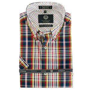 Navy, Lemon, and Red Plaid Short Sleeve Cotton Wrinkle-Free Sport Shirt by Viyella