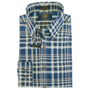 Blue, Cream, and Maroon Plaid Cotton and Wool Blend Button-Down Shirt by Viyella