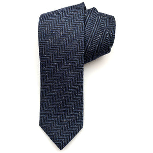 Navy and Black Herringbone Woven Textured Silk Tie by Bruno Marchesi