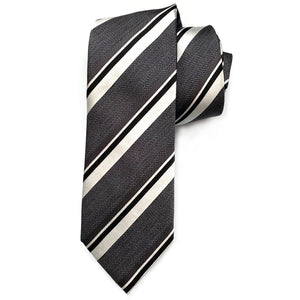 Charcoal and Silver Multi-Textured Stripe Woven Silk Tie by Bruno Marchesi