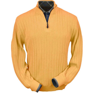 Baby Alpaca 'Links Stitch' Half-Zip Mock Neck Sweater in Melon by Peru Unlimited
