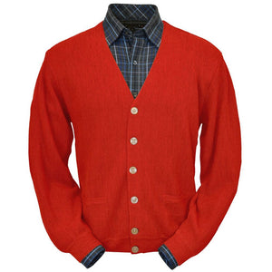 Baby Alpaca 'Links Stitch' V-Neck Cardigan Sweater in Red by Peru Unlimited