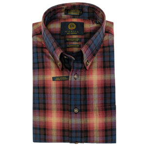 Vino and Navy Plaid Cotton and Wool Blend Button-Down Shirt by Viyella