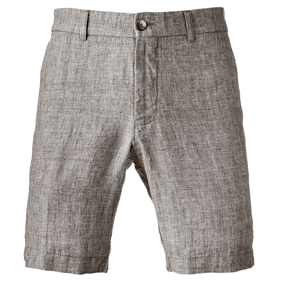 Chambray Linen Micro Houndstooth Shorts in Tan Mix by Ballin