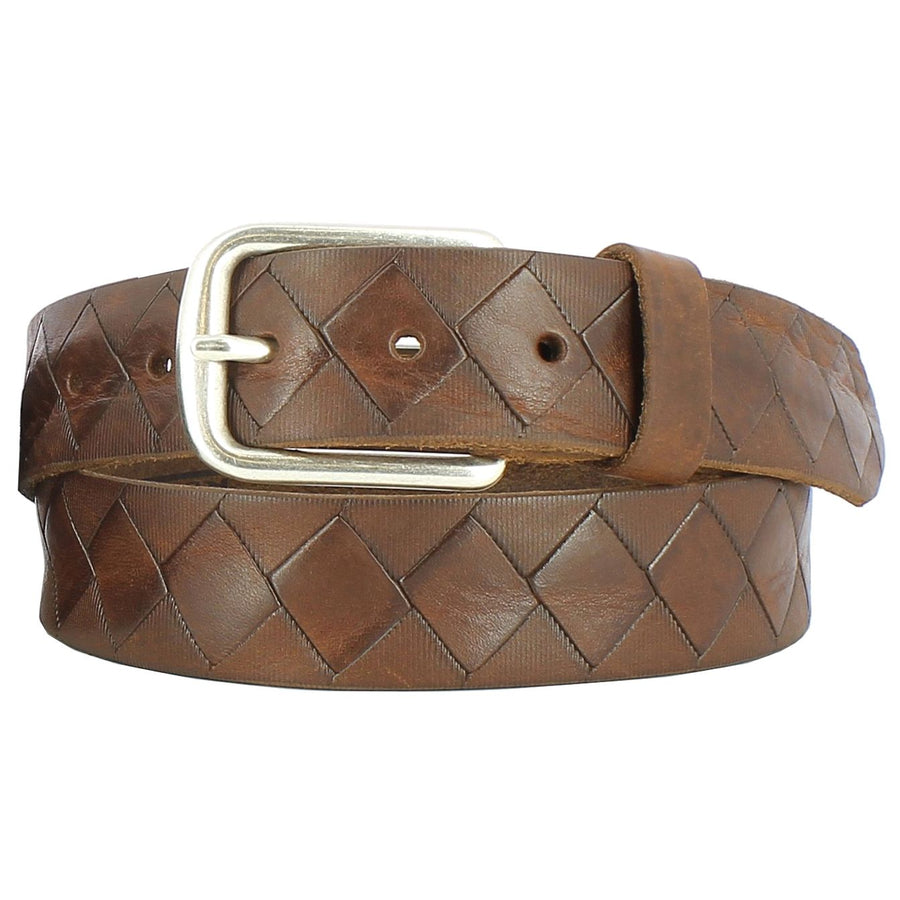 'Dino' Basketweave Embossed Italian Leather Belt in Brown by Remo Tulliani