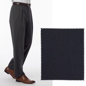Super 120s Wool Gabardine Comfort-EZE Trouser in Charcoal (Manchester Pleated Model) by Ballin