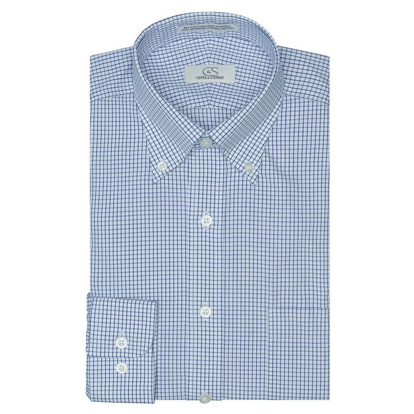 The Lenox - Wrinkle-Free Classic Check Cotton Dress Shirt with Button-Down Collar in Blue by Cooper & Stewart