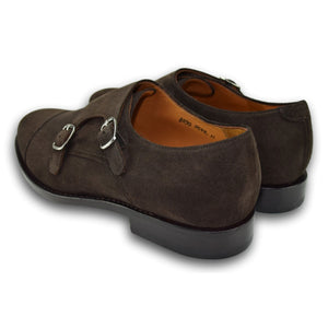 Charleston Double Monk Strap Shoe in Well Bred Brown Suede by Armin Oehler