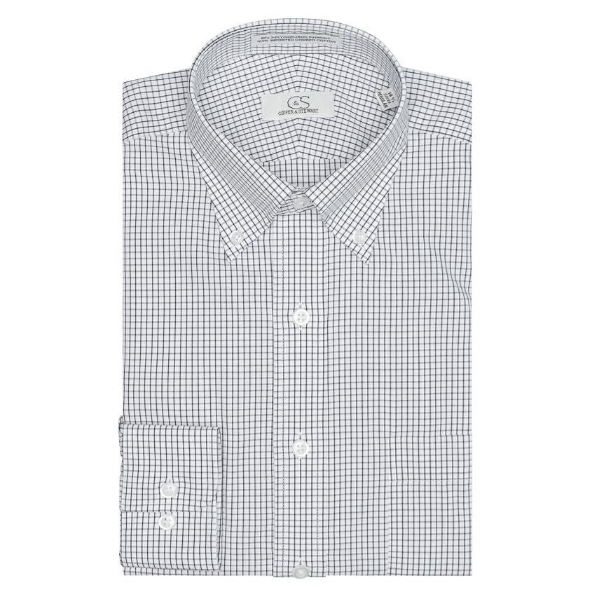 The Lenox - Wrinkle-Free Classic Check Cotton Dress Shirt with Button-Down Collar in Black by Cooper & Stewart
