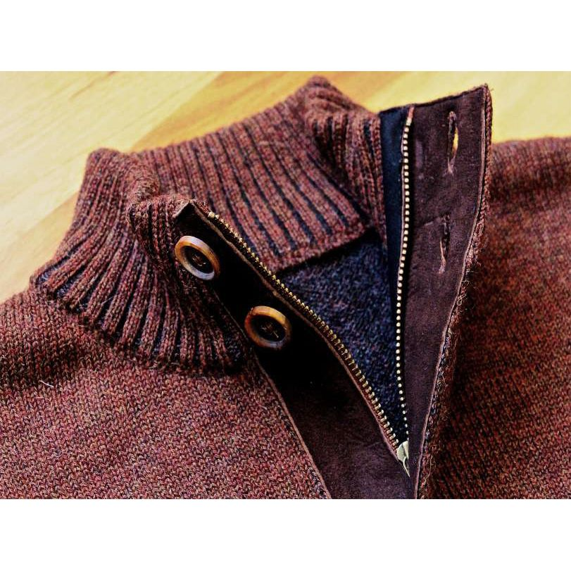 Royal Alpaca Half-Zip Button-Mock Medium Weight Sweater in Rust and Charcoal Heather by Peru Unlimited