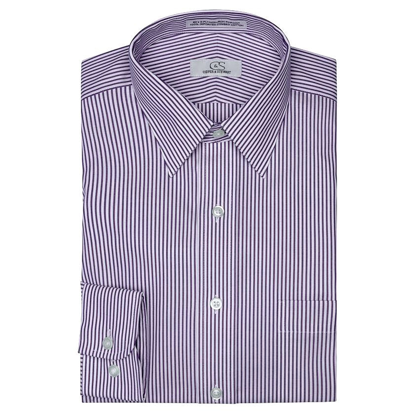 The Burlington - Wrinkle-Free Banker's Stripe Cotton Dress Shirt in Lavender by Cooper & Stewart