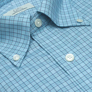 The Aiken - Wrinkle-Free Tattersall Cotton Dress Shirt with Button-Down Collar in Aqua Plaid by Cooper & Stewart