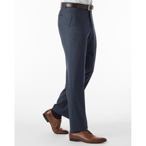 Sharkskin Super 120s Worsted Wool Comfort-EZE Trouser in New Navy (Flat Front Models) by Ballin