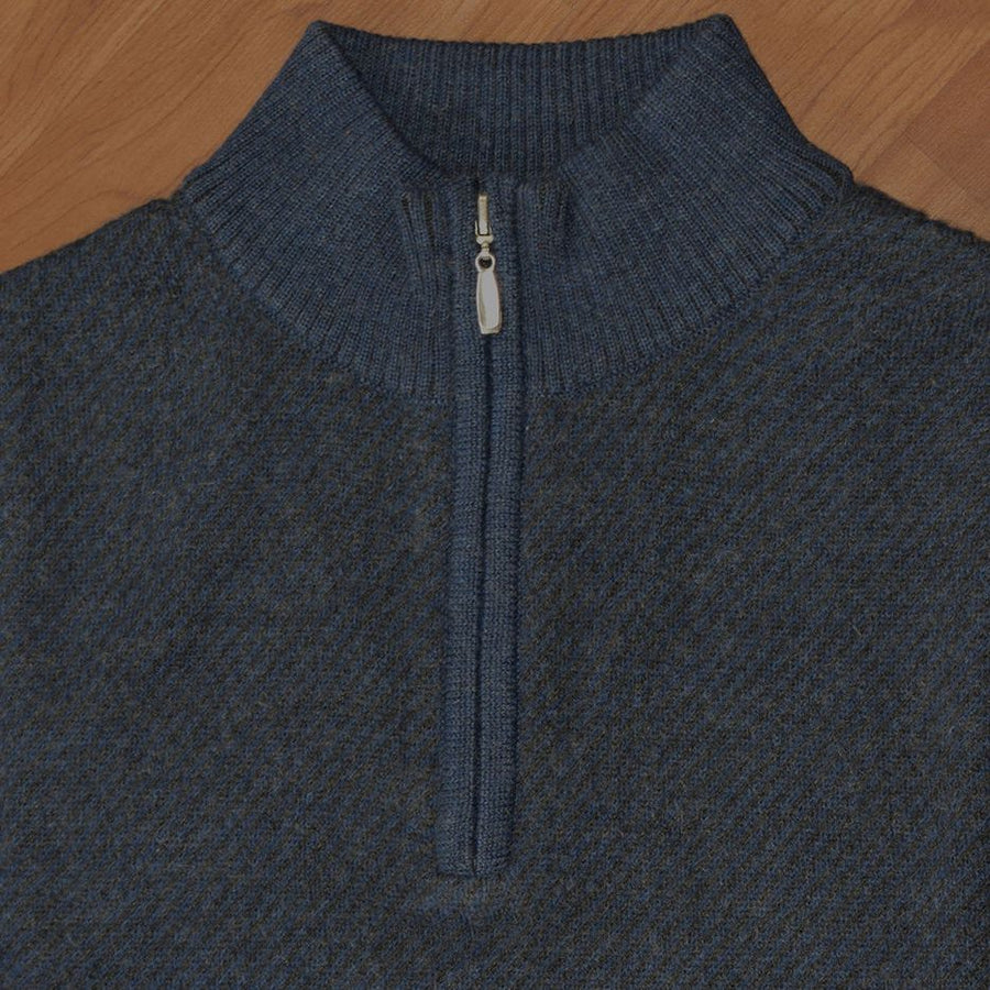 Royal Alpaca Diagonal Jacquard Half-Zip Lightweight Sweater in Midnight and Charcoal Heather by Peru Unlimited