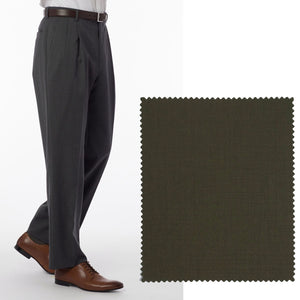 Super 120s Wool Gabardine Comfort-EZE Trouser in Loden (Manchester Pleated Model) by Ballin