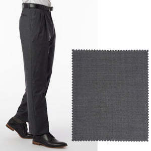 Sharkskin Super 120s Worsted Wool Comfort-EZE Trouser in Medium Grey (Manchester Pleated Model) by Ballin