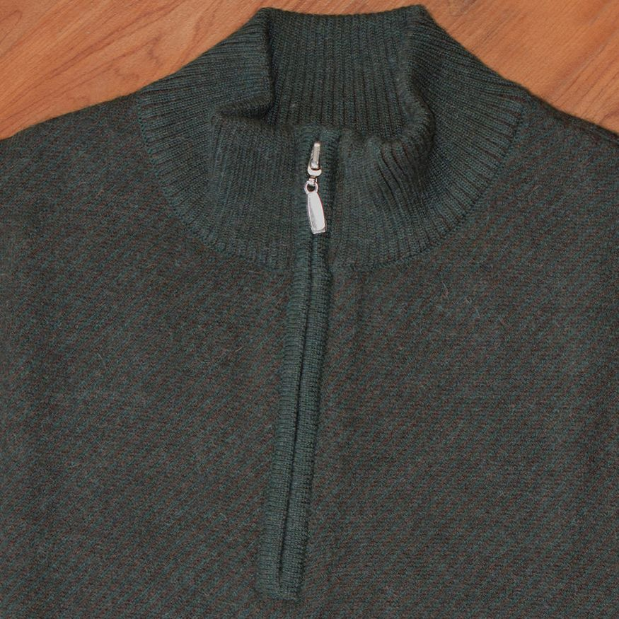Royal Alpaca Diagonal Jacquard Half-Zip Lightweight Sweater in Hunter Green and Chocolate Heather by Peru Unlimited