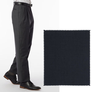 Sharkskin Super 120s Worsted Wool Comfort-EZE Trouser in Navy (Manchester Pleated Model) by Ballin