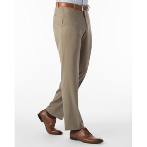 Super 120s Wool Gabardine Comfort-EZE Trouser in British Tan (Flat Front Models) by Ballin