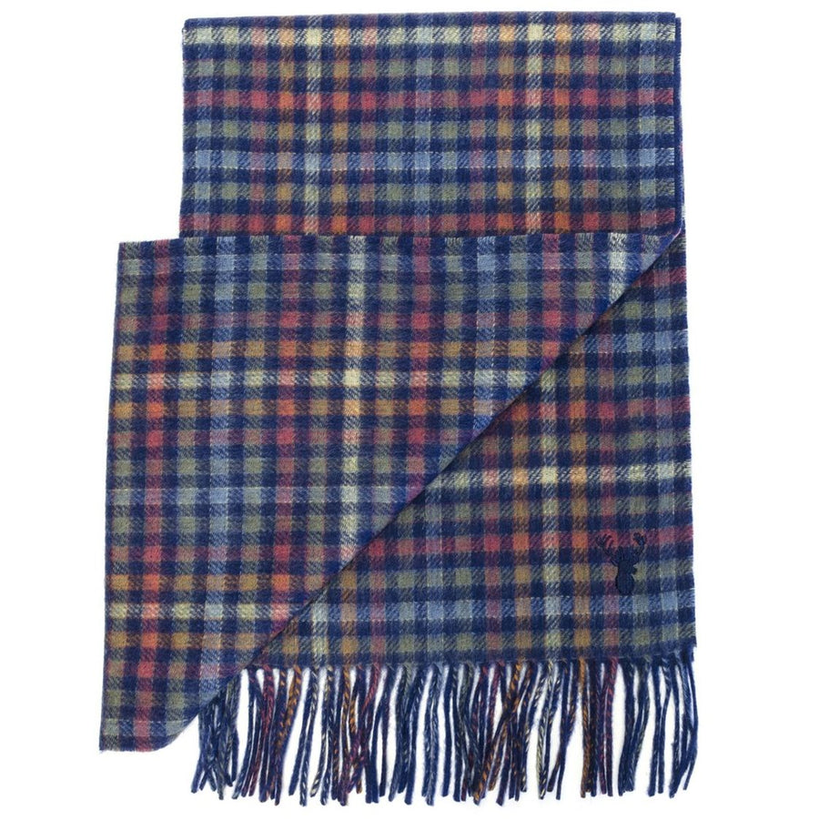 Wool and Cashmere 'Check to Solid' Double-Faced Scarf in Navy Multi by Viyella