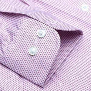 The Dover - Wrinkle-Free Graph Check Cotton Dress Shirt in Berry by Cooper & Stewart