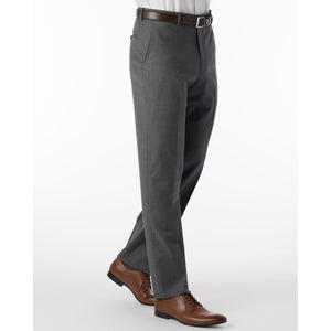 Super 120s Wool Serge Comfort-EZE Trouser in Medium Grey (Flat Front Models) by Ballin