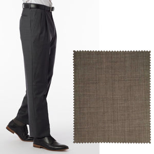 Sharkskin Super 120s Worsted Wool Comfort-EZE Trouser in Light Brown (Manchester Pleated Model) by Ballin