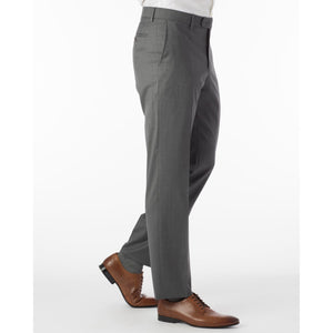 Super 130s Loro Piana Wool Gabardine Flat Front Trouser in Grey by 6 East by Ballin
