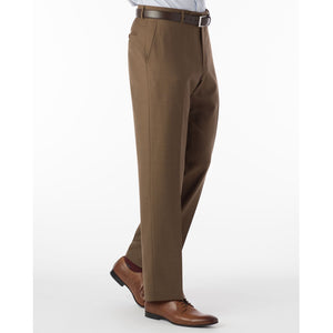 Super 120s Luxury Wool Serge Comfort-EZE Trouser in Tobacco (Flat Front Models) by Ballin