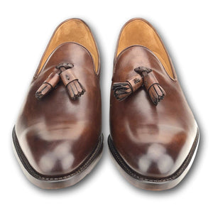 Kiawah Tassel Loafer in Hand Painted Tobacco by Armin Oehler