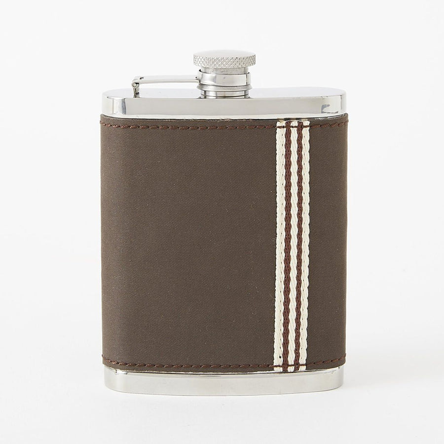 Stainless Steel Flask with Tobacco Brown Microfiber Cover by Baekgaard
