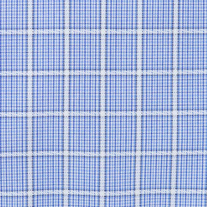 The Medina - Wrinkle-Free Overlay Check Cotton Dress Shirt in Blue by Cooper & Stewart