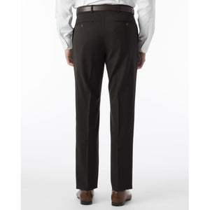 Super 120s Wool Gabardine Comfort-EZE Trouser in Brown (Flat Front Models) by Ballin