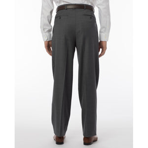 Super 120s Luxury Wool Serge Comfort-EZE Trouser in Medium Grey (Manchester Pleated Model) by Ballin