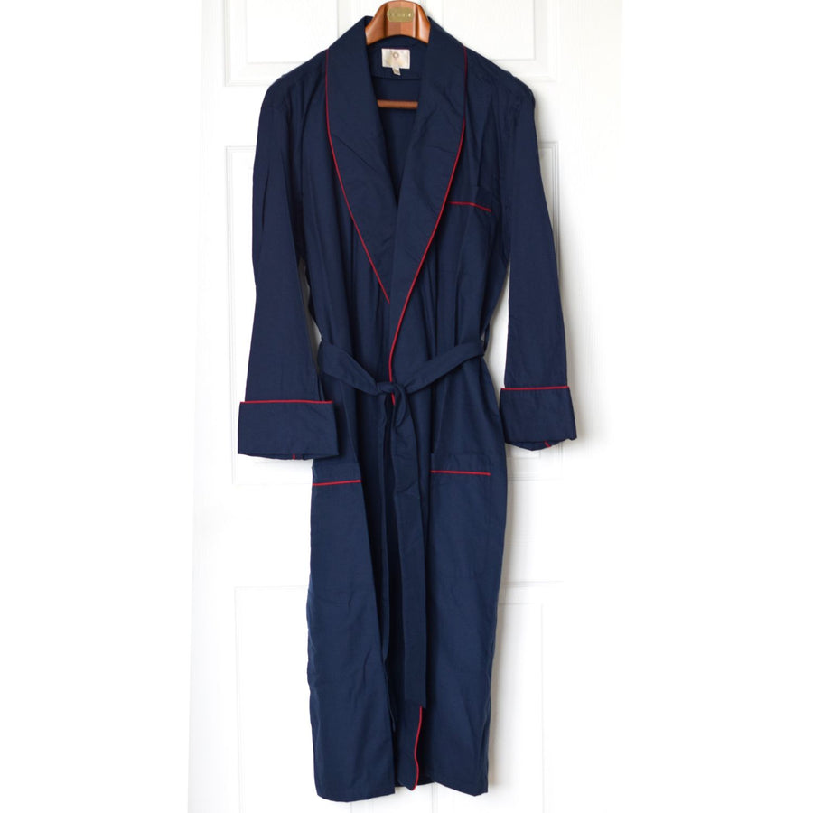 Gentleman's Cotton and Wool Blend Robe in Solid Navy with Red Piping by Viyella