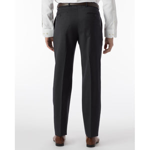 Super 120s Wool Gabardine Comfort-EZE Trouser in Charcoal (Flat Front Models) by Ballin