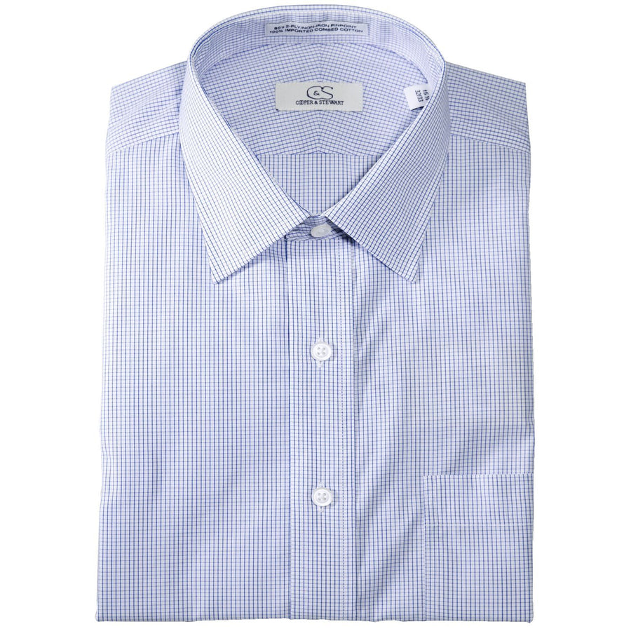 The Dover - Wrinkle-Free Graph Check Cotton Dress Shirt in Blue by Cooper & Stewart