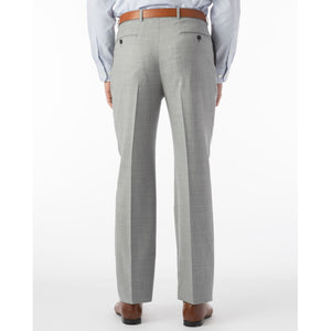 Super 120s Wool Serge Comfort-EZE Trouser in Light Grey (Flat Front Models) by Ballin