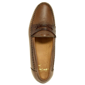 Amalfi Deerskin Loafer with Crocodile Trim in Antique Honey by Alan Payne Footwear