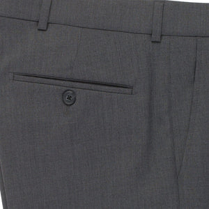 Super 120s Luxury Wool Serge Comfort-EZE Trouser in Medium Grey (Flat Front Models) by Ballin