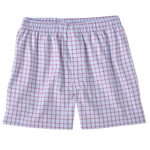End-On-End Windowpane Cotton Boxer in Red by Bills Khakis