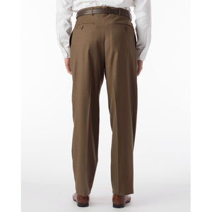 Super 120s Luxury Wool Serge Comfort-EZE Trouser in Tobacco (Manchester Pleated Model) by Ballin