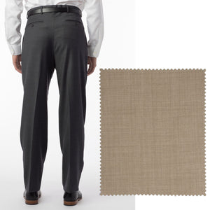 Sharkskin Super 120s Worsted Wool Comfort-EZE Trouser in Camel (Manchester Pleated Model) by Ballin